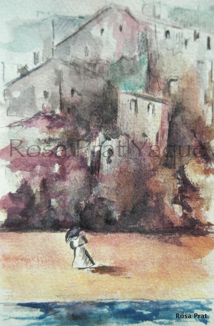 Woman on  the sand.  Mujer en la arena.  Watercolor.  Acuarela