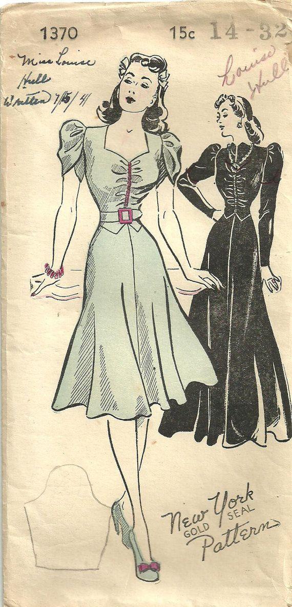 Vintage New York Sewing Pattern 1370 Forties por studioGpatterns, $28.50