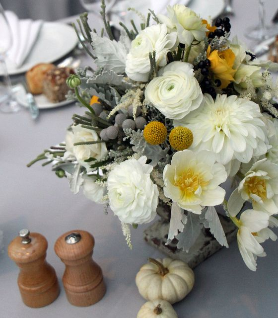 One of my favorite yellow and gray fall centerpieces.  Billy balls, ranunculi, dusty miller, silver brunia.  Love the white mini pumpkins