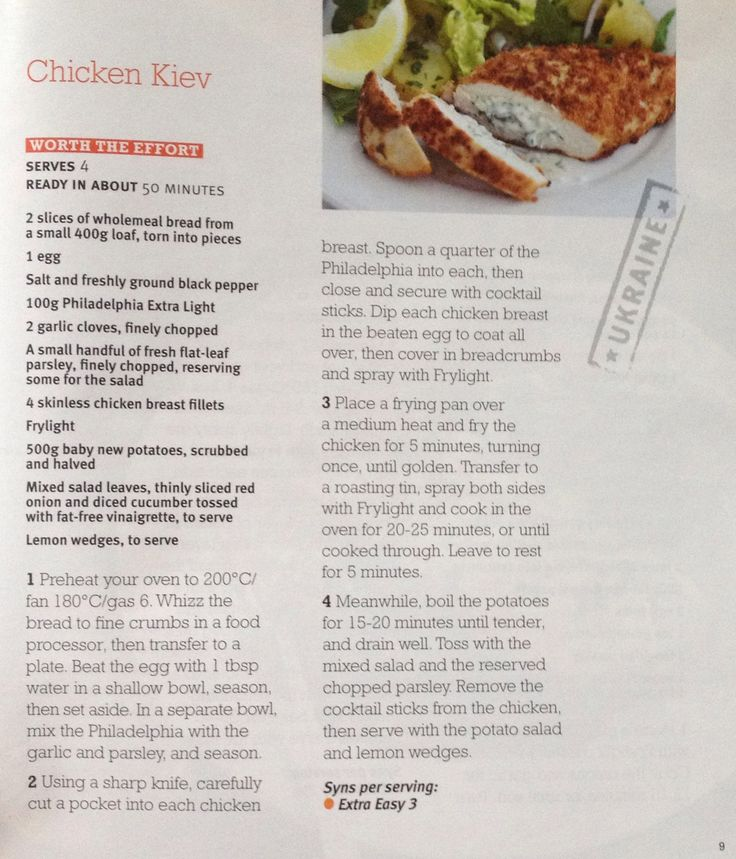 Chicken Kiev slimming g world recipe (slimming world magazine)