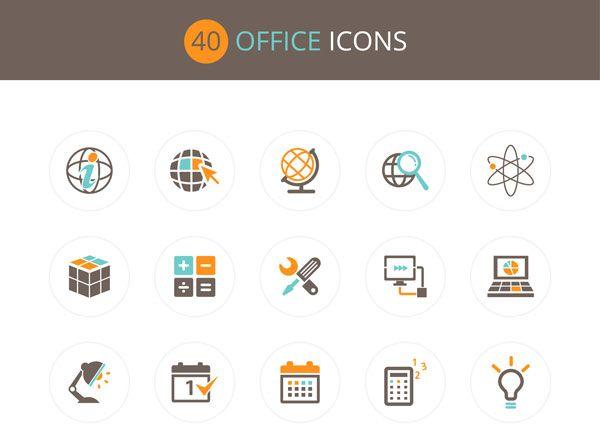 Free Download : Office Icon Set (40 icons – PSD , AI , EPS) | Designbeep