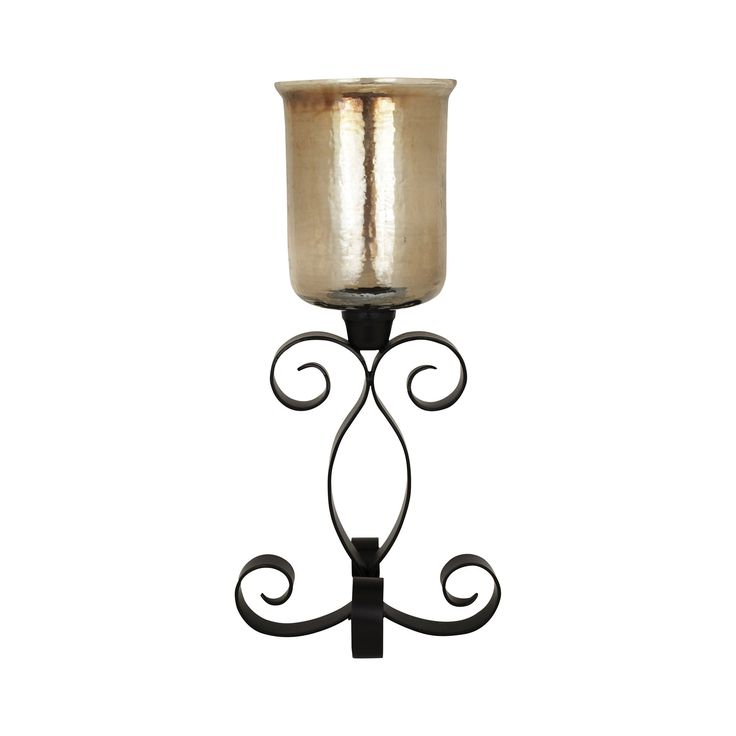 Pomeroy POM-561474 Cheyenne Collection Rustic,Hammered Brown Lustre Finish Candle/Candle Holder