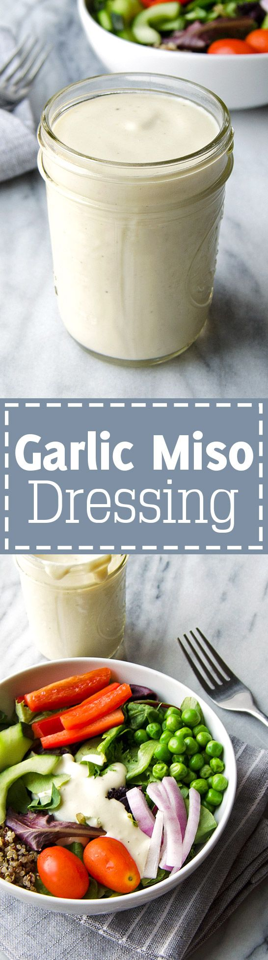 Garlic Miso Dressing - Super creamy and flavor packed! Use on salads and as a dip, or anything you would use ranch dressing with! | RECIPE at NomingthruLife.com