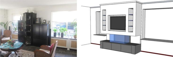 livingroom make-over fireplace -  woonkamer gemoderniseerd met openhaard