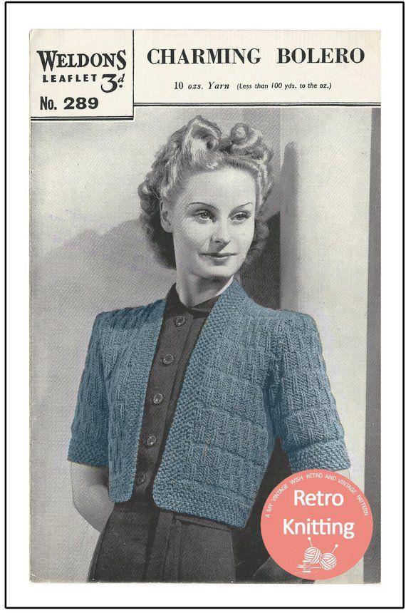 eece1a5468e5 1940s Wartime Bolero Knitting Pattern - Instant Download - PDF Girls  Sweaters