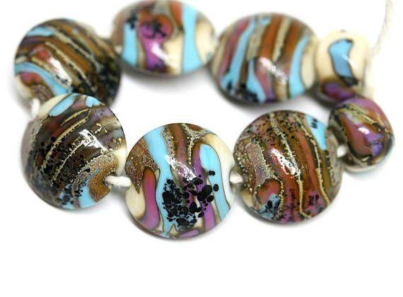 Earthy colors lentil lampwork beads SRA Lampwork beads set in