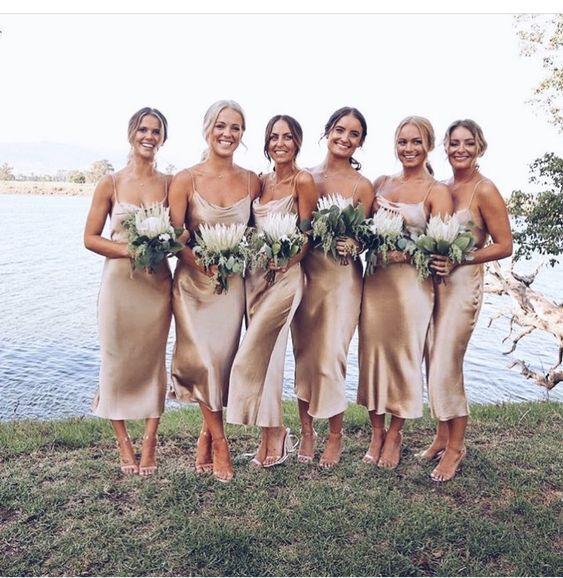 Goldbeige Seide Bias Slip Kleid Seide Slip Brautjungfern Kleid Seide Kleidung Sh… – Bridesmaids dresses