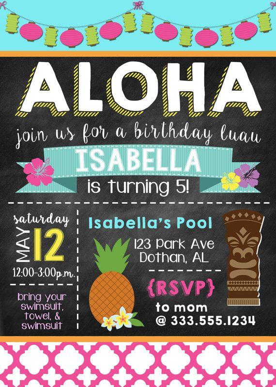 Invitación de Luau  Invitación hawaiana  Fiesta Luau  Aloha