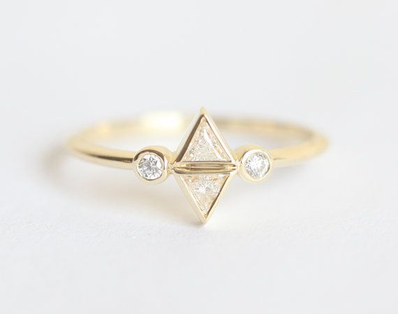 Diamond Trillion Ring Trillion Engagement Ring Unique by capucinne