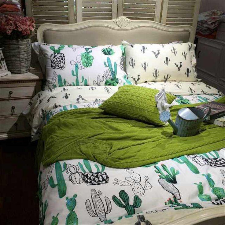 Cactus Duvet Set Queen Size Basement Queen Bedroom
