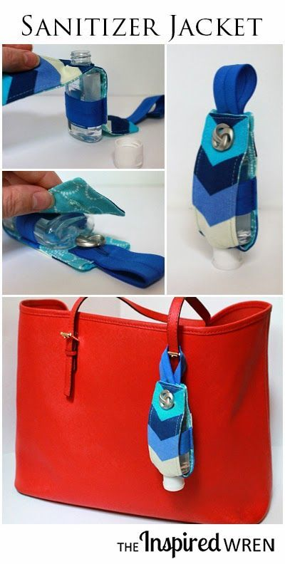 TUTORIAL: Hand Sanitizer Jacket | This custom Hand Sanitizer Jacket makes a great gift for teachers, new moms, or the workplace grab-bag. Quickly sew up a bunch for the upcoming holiday season with this step by step tutorial. | The Inspired Wren #stockingstuffer
