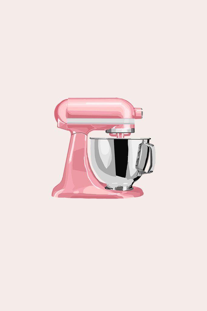 Pink Kitchen Mixer Bakery Logo Design Digital Sticker Instagram Logo