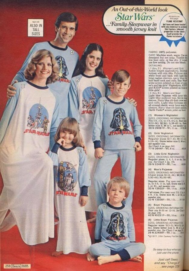 "In 1978, ""Star Wars"" mania was still in full effect. Sears took it one-step further with this totally awkward matching family pajama sets (in 100% polyester)."