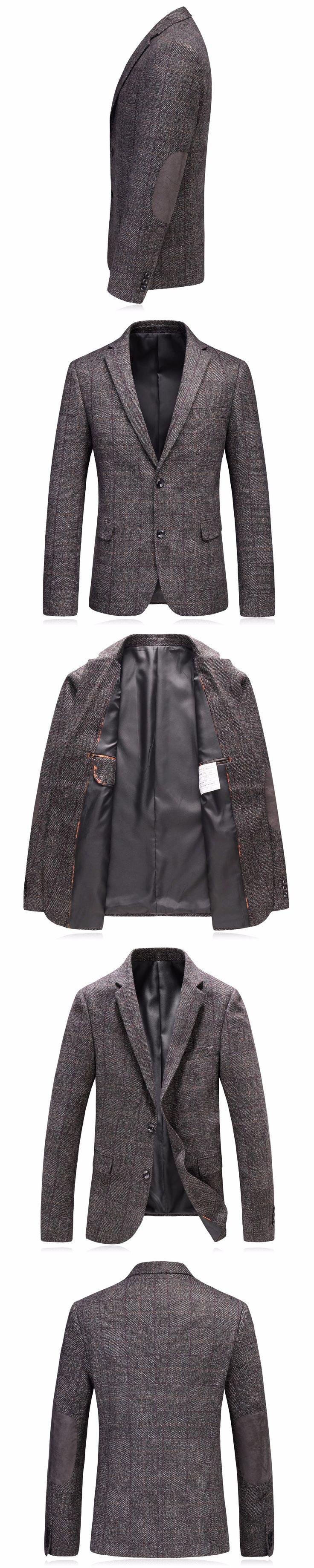 Mens Tweed Jacket 2017 Luxury Plaid Suit Blazers Male High Quality Stylish Tweed Jacket Men Casual Blazer Slim Fit Costume M-3XL