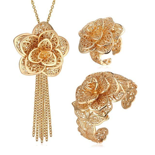 Flor grande conjunto de jóias 2015 nova Platinum / 18 K Real banhado a ouro na moda Design requintado Set jóias Wedding nupcial para mulheres S563