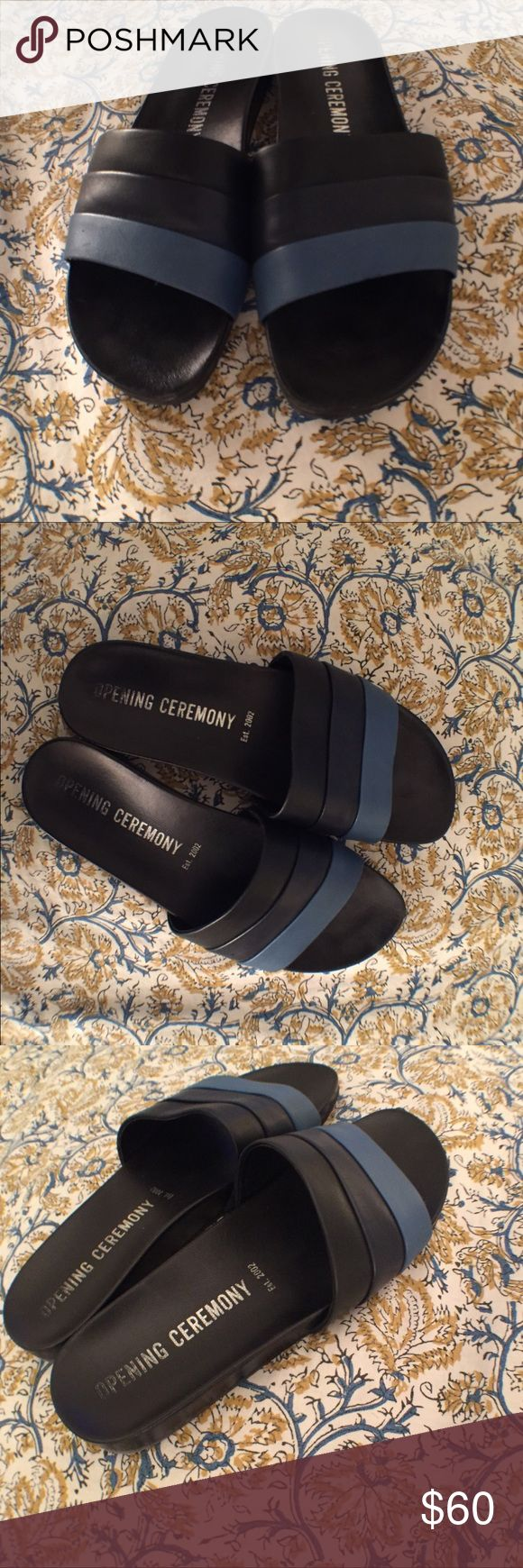 Opening Ceremony Kaatya Leather Slides Gorgeous leather slides with a three-tone band, contoured footbed, and a rubber sole. They run small so sadly do not fit me (I am a 7.5 and these are 37s and since they run small would fit a 6.5 US best). Opening Ceremony Shoes Sandals