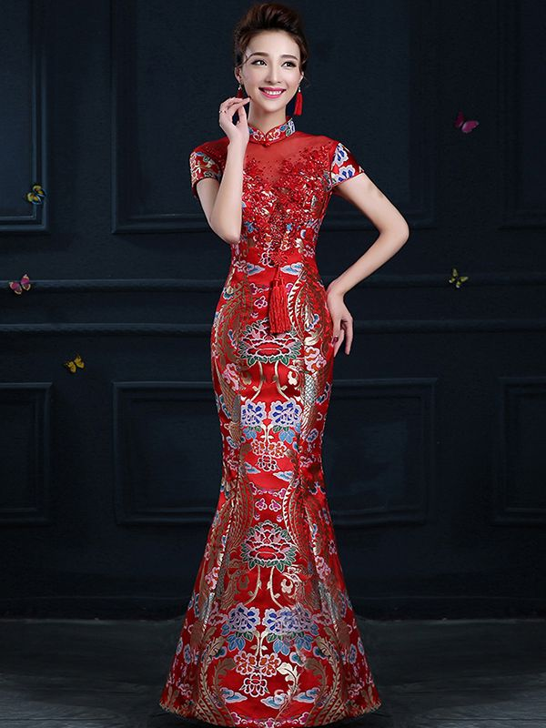 2f0e5464d697 Beaded lace floral phoenix brocade burgundy red mermaid party dress –  Modern Qipao