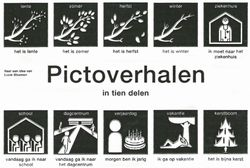 Pictoverhalen in tien delen. Eenvoudige verhalen waarin de tekst wordt ondersteund en verduidelijkt met pictogrammen.