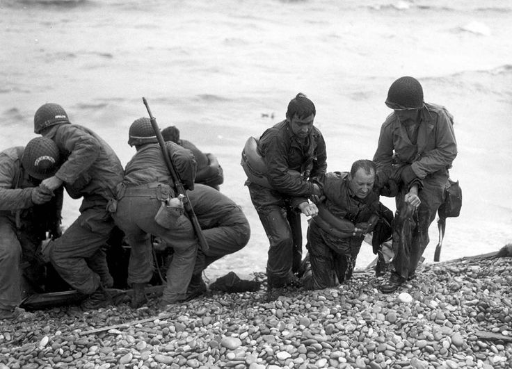 Members of an American landing party help others whose landing craft was sunk by enemy action off the coast of France. These survivors reached Omaha Beach by using a life raft on June 6, 1944.: Land Parties, Omaha Beaches, Life Raft, Dday, American Land, Land Crafts, Help Hands, War Ii, Photo