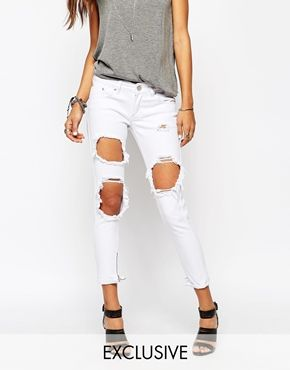 Image 1 of Liquor & Poker Skinny Jeans With Extreme Distressing Ripped Knees