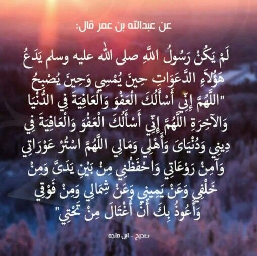 "It was narrated that Ibn 'Umar said:""The Messenger of Allah (saas) never abandoned these supplications, every morning and evening: Allahumma inni as'alukal-'afwa wal-'afiyah fid-dunya wal-akhirah. Allahumma inni as'alukal-'afwa wal-'afiyah fi dini wa dunyaya wa ahli wa mali. Allahum-mastur 'awrati, wa amin raw'ati wahfazni min bayni yadayya, wa min khalfi, wa 'an yamini wa 'an shimali, wa min fawqi, wa 'audhu bika an ughtala min tahti (O Allah, I ask You for forgiveness and well-being in…"