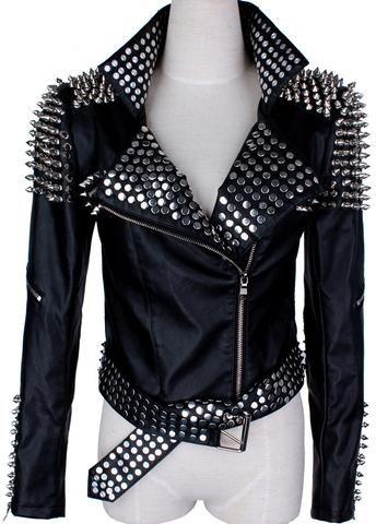 Black Studded Faux-Leather Biker Jacket
