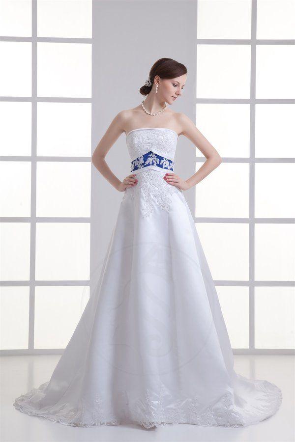 Robe de mariée a-ligne avec perle avec cristal avec zip de traîne mi-longue
