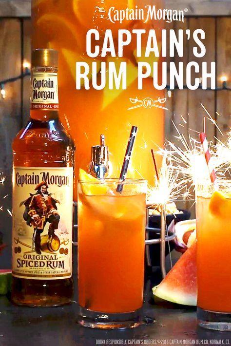Pack a punch at your next BBQ with the Captain's Punch recipe below: 24 oz. Captain Morgan Original Spiced Rum 24 oz Pineapple juice 24 oz Fresh orange juice 24 oz Ginger ale 2 oz Grenadine syrup  Get more rum recipes at https://us.captainmorgan.com/rum-cocktails/?utm_source=pinterest&utm_medium=social&utm_term=bbq&utm_content=rum_punch&utm_campaign=recipe