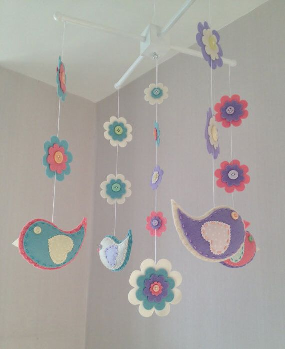 Baby Crib Mobile - Cot Mobile - Baby Mobile - Birds anf Flowers - Nursery decor - Girls Decor by EllaandBoo on Etsy https://www.etsy.com/listing/201421817/baby-crib-mobile-cot-mobile-baby-mobile