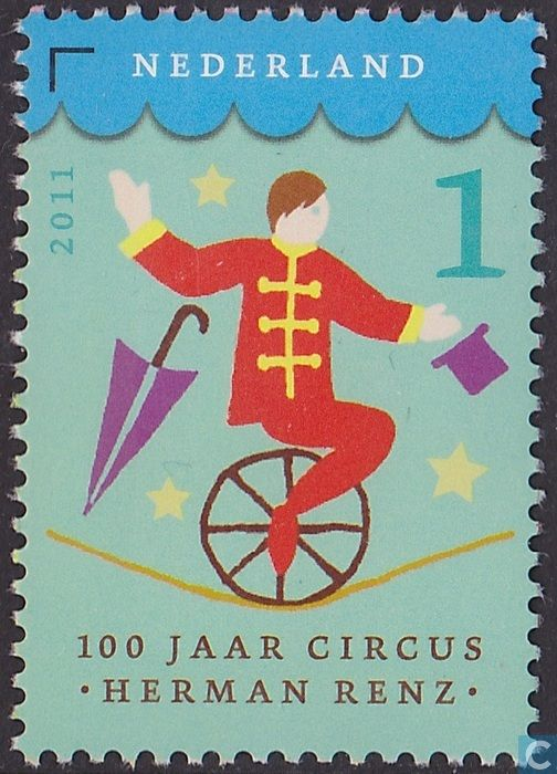 Postzegels - Nederland - 100 jaar Circus Herman Renz  Aufgabe Zirkus/ bewegung