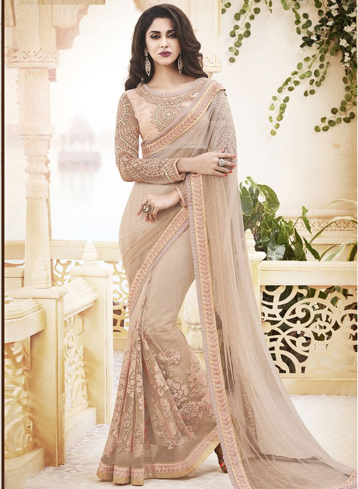 Steal the limelight by wearing this beautiful Beige Printed Net Saree #Beige #Saree #Party