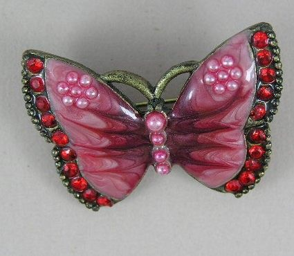 Pink vintage butterfly brooch gorgeous pink by teeztreasuretrove