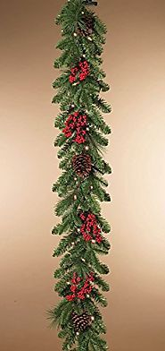 Cheap Christmas Garland With Lights | Indoor or Outdoor Battery Operated 6 Foot Pre-lit LED Mixed Pine Garland with Cones and Berries