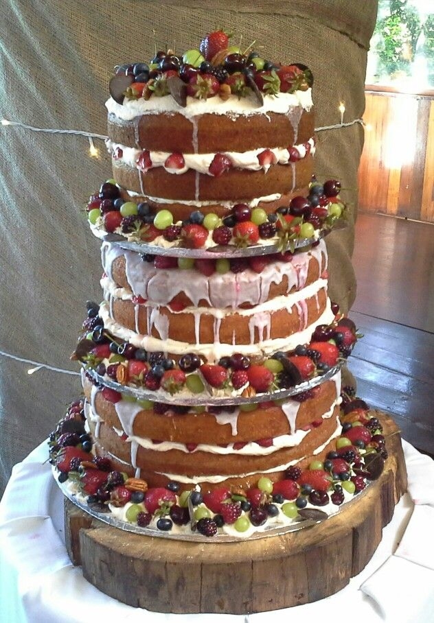 Victorian sponge cake with fresh berries, nuts and cream