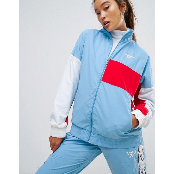 Reebok Classics Lost & Found Woven Track Jacket In Blue (£63) ❤ liked on Polyvore featuring activewear, activewear jackets, blue, reebok sportswear, tall activewear, track jacket, logo sportswear and reebok