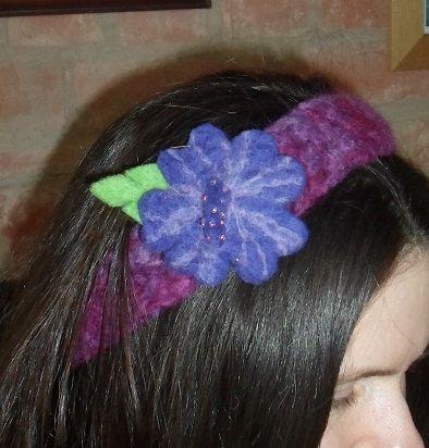 Purple FLOWER HEADBAND FELTED Crochet Dreadband by tinkertailoruk, $20.00