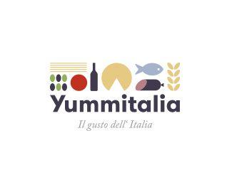 Yummitalia - Logo Design - Logomark, Logotype, Food, Icons, Fruit, Vegetables, Cheese, Bottle, Wine, Grain, Fish, Meat, Sausage, Colorful