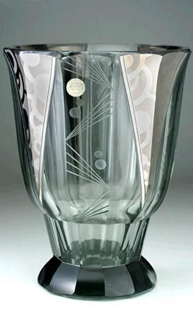 c.1930s PODBIRA BROTHERS HAIDA ENGRAVED & SILVERED ART DECO GLASS VASE