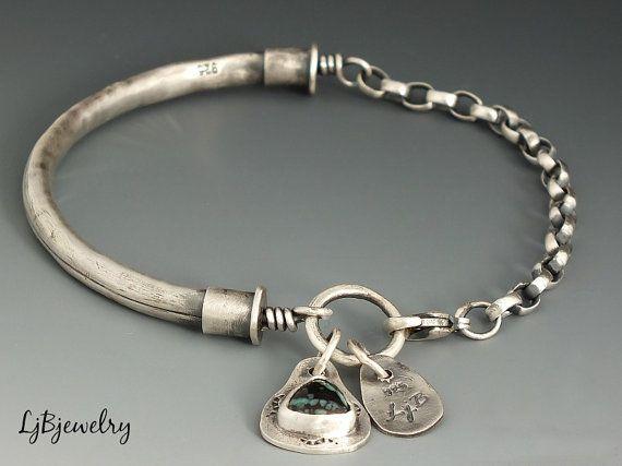 Silver Bracelet, Silver Bangle, Turquoise Jewelry, Turquoise Bracelet, Sterling Silver, Metalsmith, Handmade, Chain, Link Bracelet