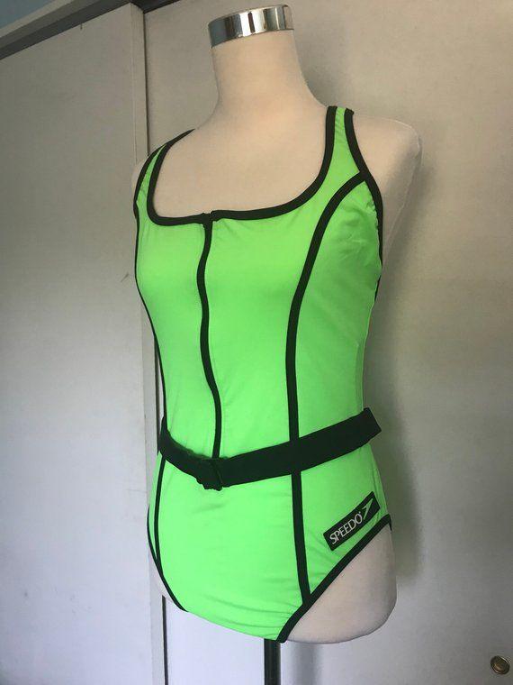 b151bede933 90s Vintage Neon Green Speedo One Piece Swimsuit | Bathing Suit | Women's  Size 14 | NWT