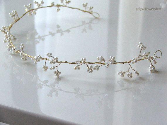 Gypsophelia Hair Vine. Bridal Halo Wedding by LittleWillowandCo, £38.88