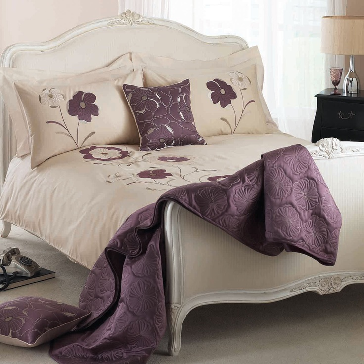 Elegant cream and purple bedding set.  www.worldstores.co.uk/p/Dreams_n_Drapes_Dauphine_Bedding_Set_in_Heather.htm