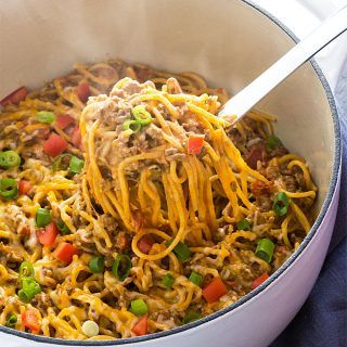 One Pot Creamy Taco Spaghetti - All the taco flavors you love in a creamy spaghetti, and in ONE POT for easy cleanup!