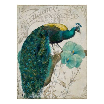 Les Paons II Vintage Peacocks Art Nouveau Posters