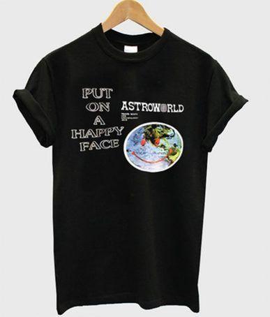 70697d0a Travis scott astroworld put on a happy face t-shirt | BEST DEAL T ...