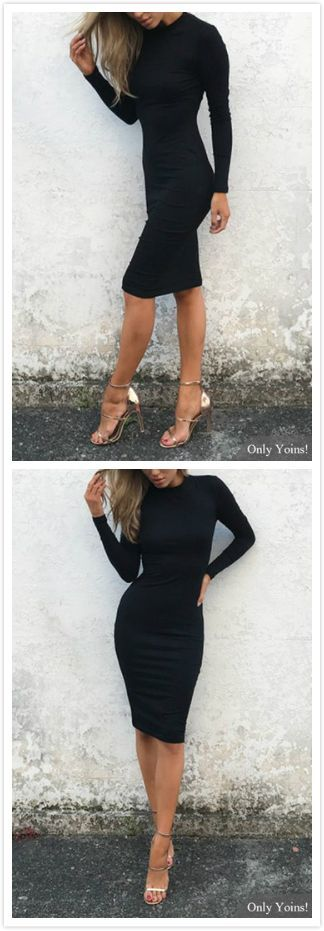 Black Crew Neck Long Sleeve Midi Dress – US $ 11.95 #black #Crew #dress #Long #…