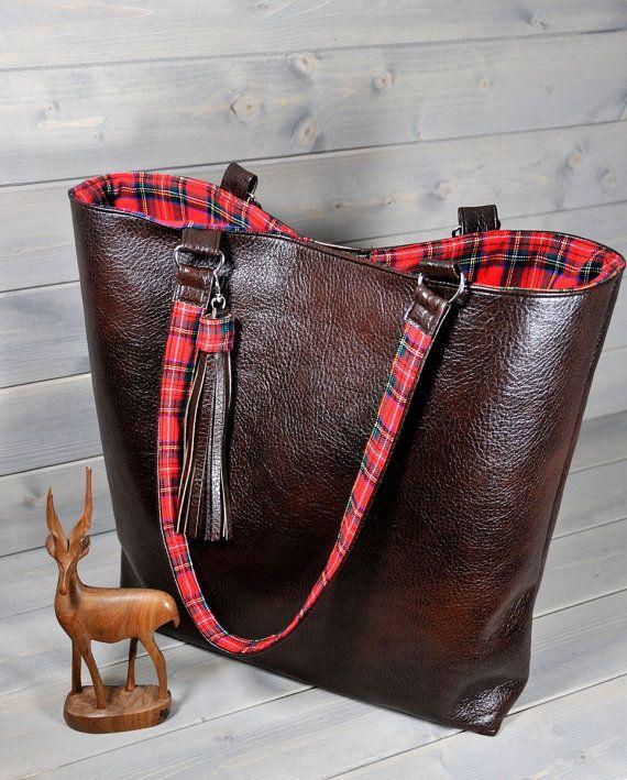 Womens Brown Leather Red Tartan Tote Bag | Weekend Bag | Large Leather Shoulder Bag | Ladies Plaid Handbag | Tassel Bag | Cross Body