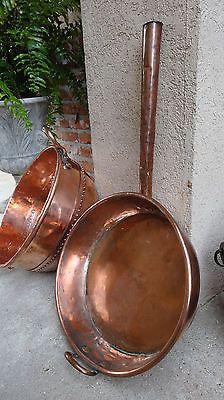 HUGE Antique French COPPER Pan Skillet Vessel –Kitchen Cuisine