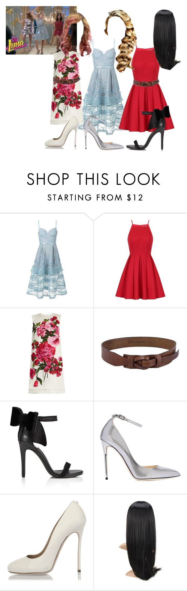 """Soy Luna"" by julia-clv ❤ liked on Polyvore featuring self-portrait, Chi Chi, Dolce&Gabbana, NOVICA, Miss Selfridge, Jimmy Choo and Dsquared2"