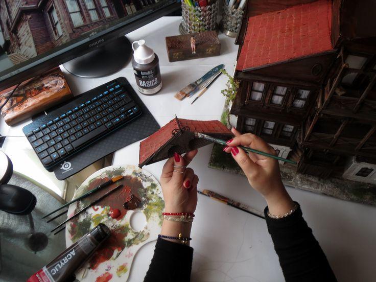 Armutçular Mansion, which was built in 1860 in Baroque style wooden mansion httpa//www.gulipeksanat.com/mudurnu-armutcular- #mansion #mini #miniature #modelmaking #armutçularkonağı #ahşapkonak #painting#art #artist